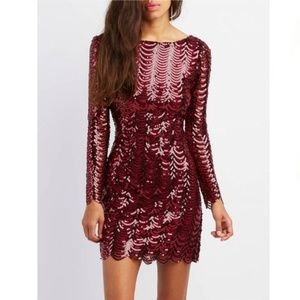 NWT SEXY Scalloped Sequins Burgundy Bodycon Dress